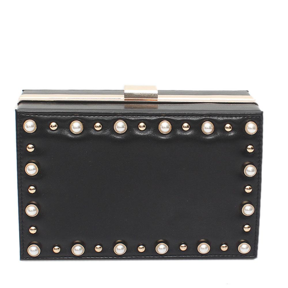 Black Leather Premium Hard Clutch