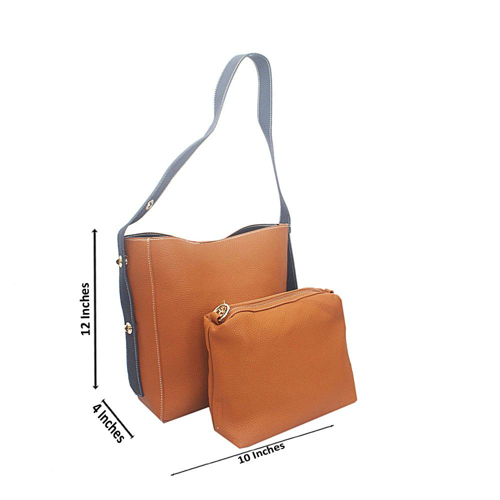 Brown Navy Amelia Tandy Leather Shoulder Bag