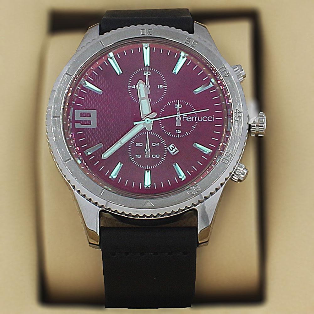 Ferrucci Charon Silver Black Leather Pilot Series Watch
