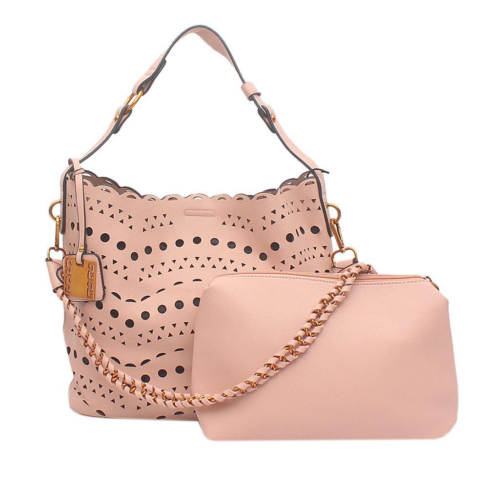 London Style Pink Leather Shoulder Bag Wt Purse