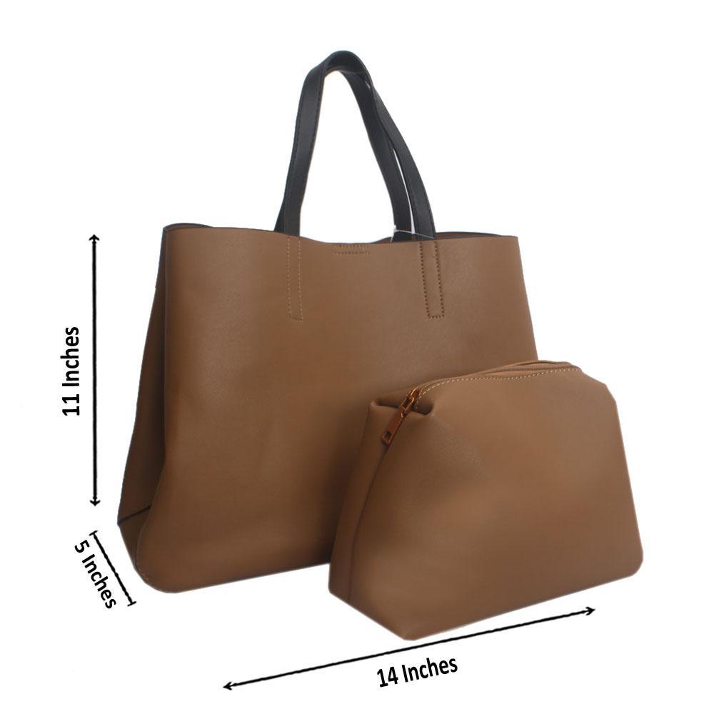 Camel Brown Leather Shoulder Handbag