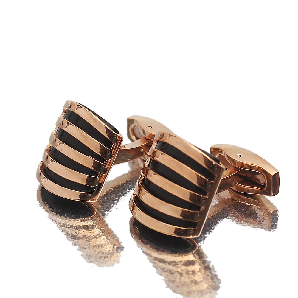 Platinum Rose Gold Stainless Steel Cufflinks