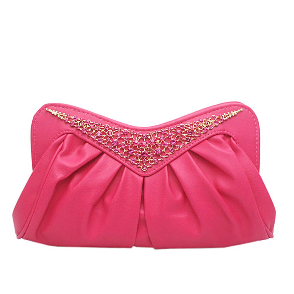 Pink Studded Flat Clutch Purse
