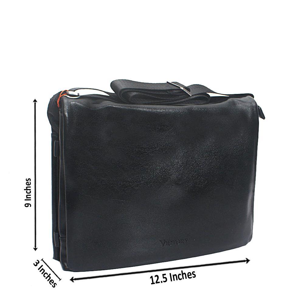 Black Casania Leather Mini Messenger Bag