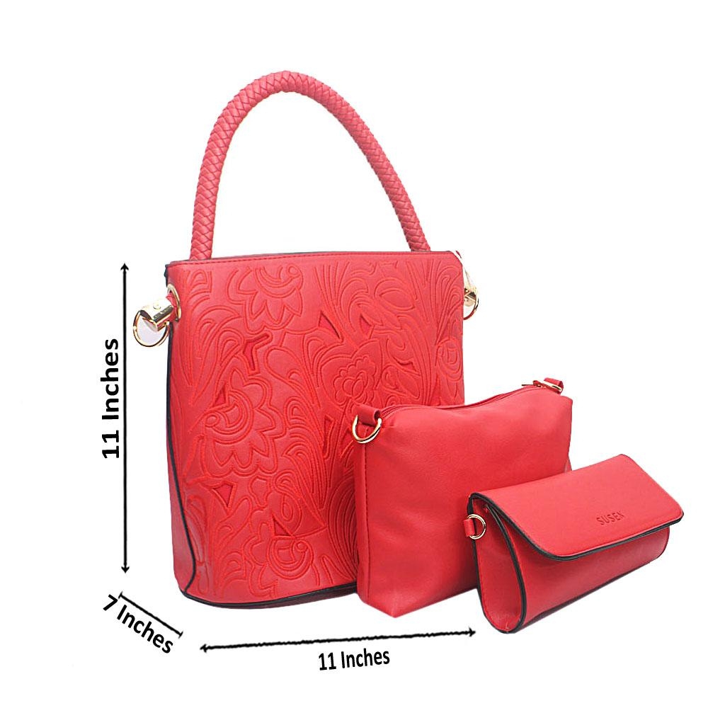 Red Etched Wooven Handle Leather Bucket Bag