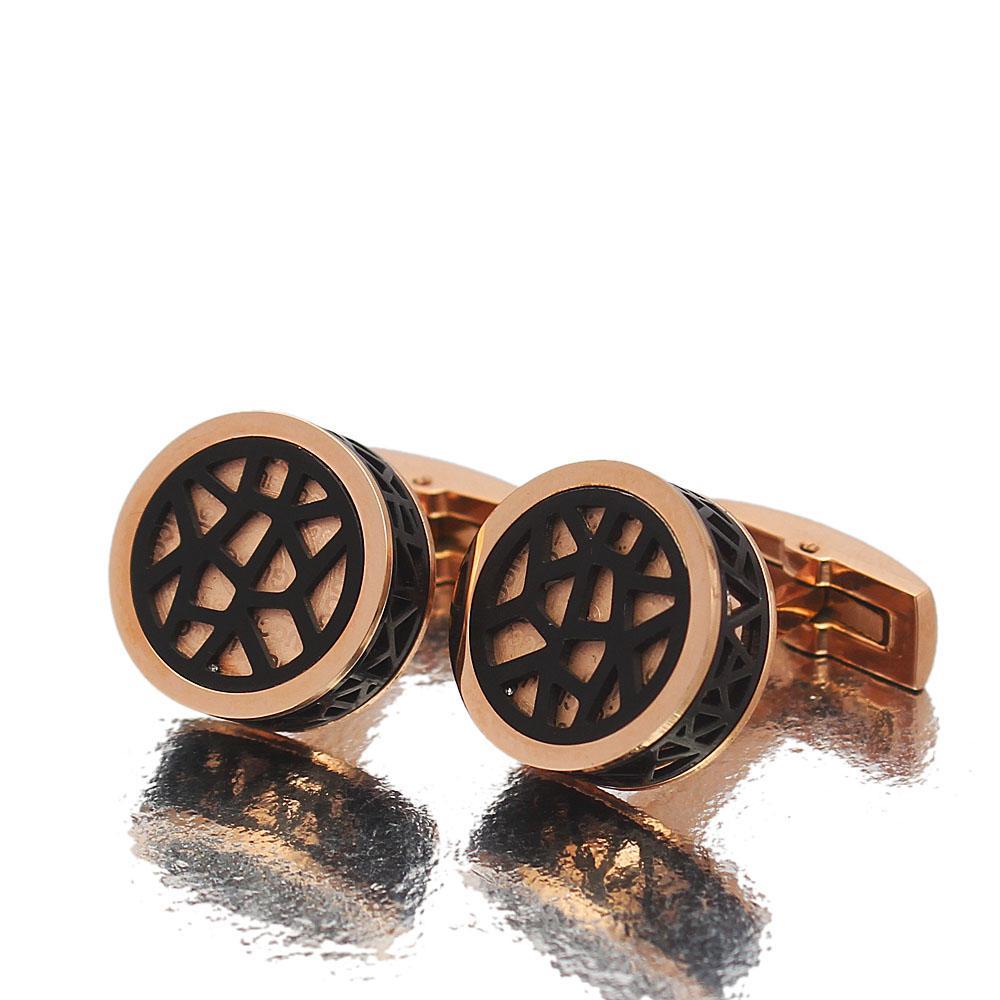 Mitch Rose gold Black Stainless Steel Cufflinks