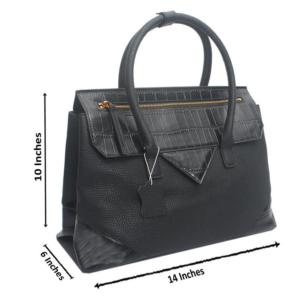 Black Primora Envelope Croc Saffiano LeatherHandbag