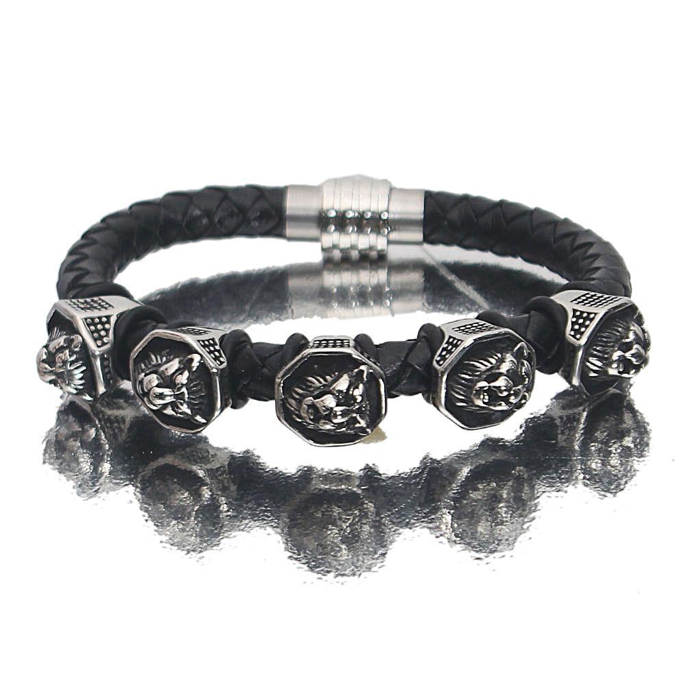 Silver Black Serial Stud Leather Bracelet