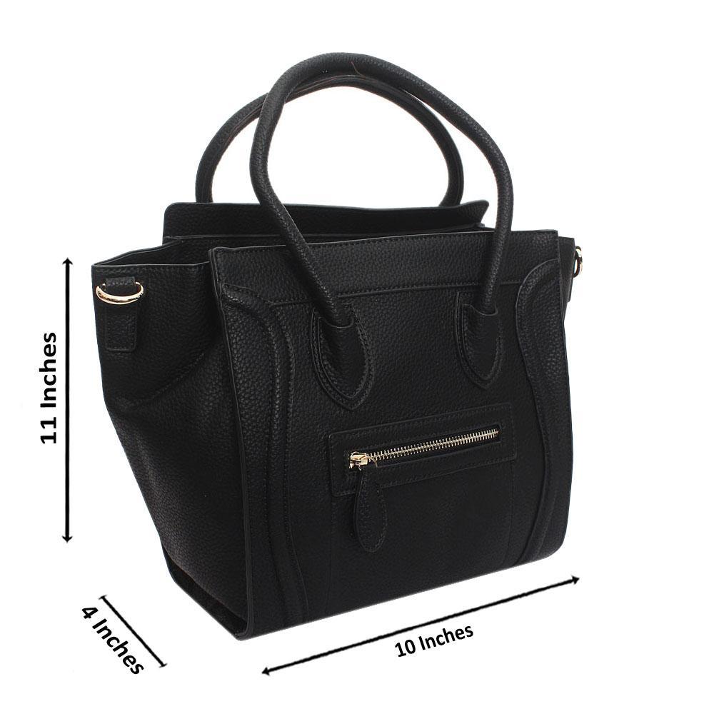 Black Leather Medium Luggage Handbag