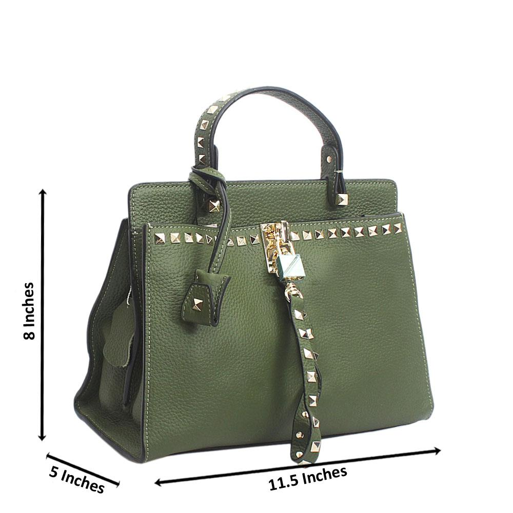 Cute Green Rock Stud Tuscany Leather Top Handle Handbag