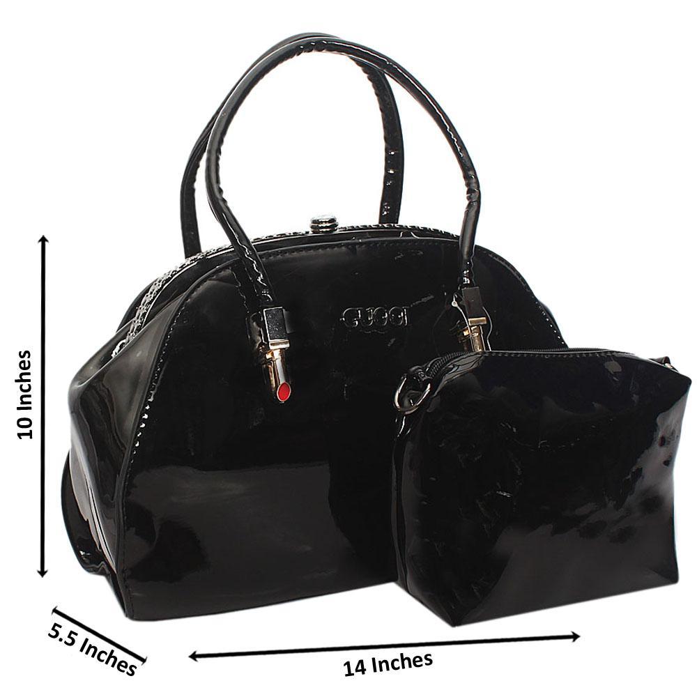 Black Guool Patent Leather Tote Handbag