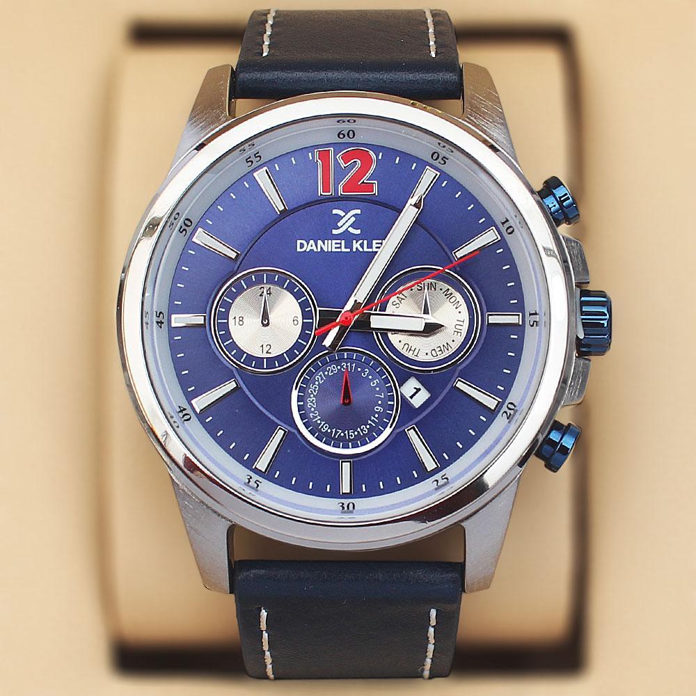 Daniel Klein Panorama Navy Blue Leather Sport Series Watch