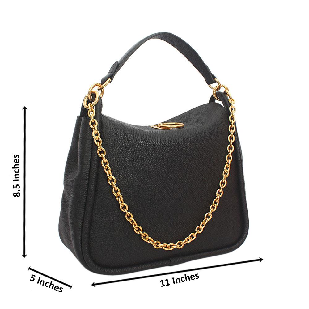 Black Cowhide Leather Top Handle Handbag