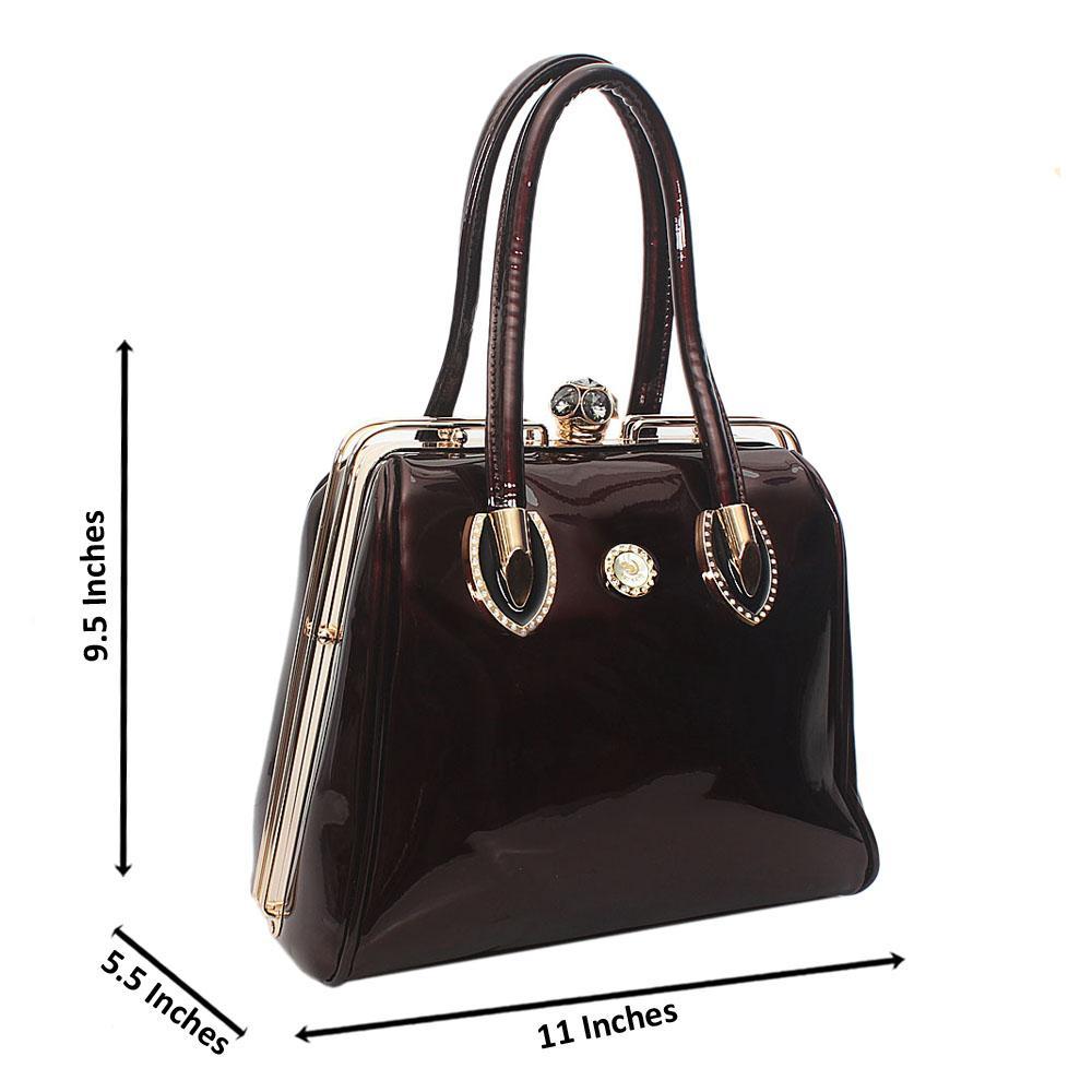 Coffee Botwang Patent Leather Tote Handbag