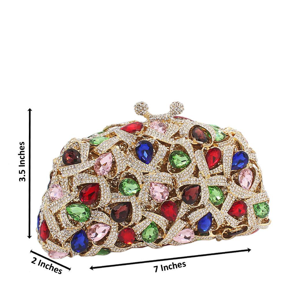 Multicolored Pear Embellished Diamante Crystals Clutch Purse