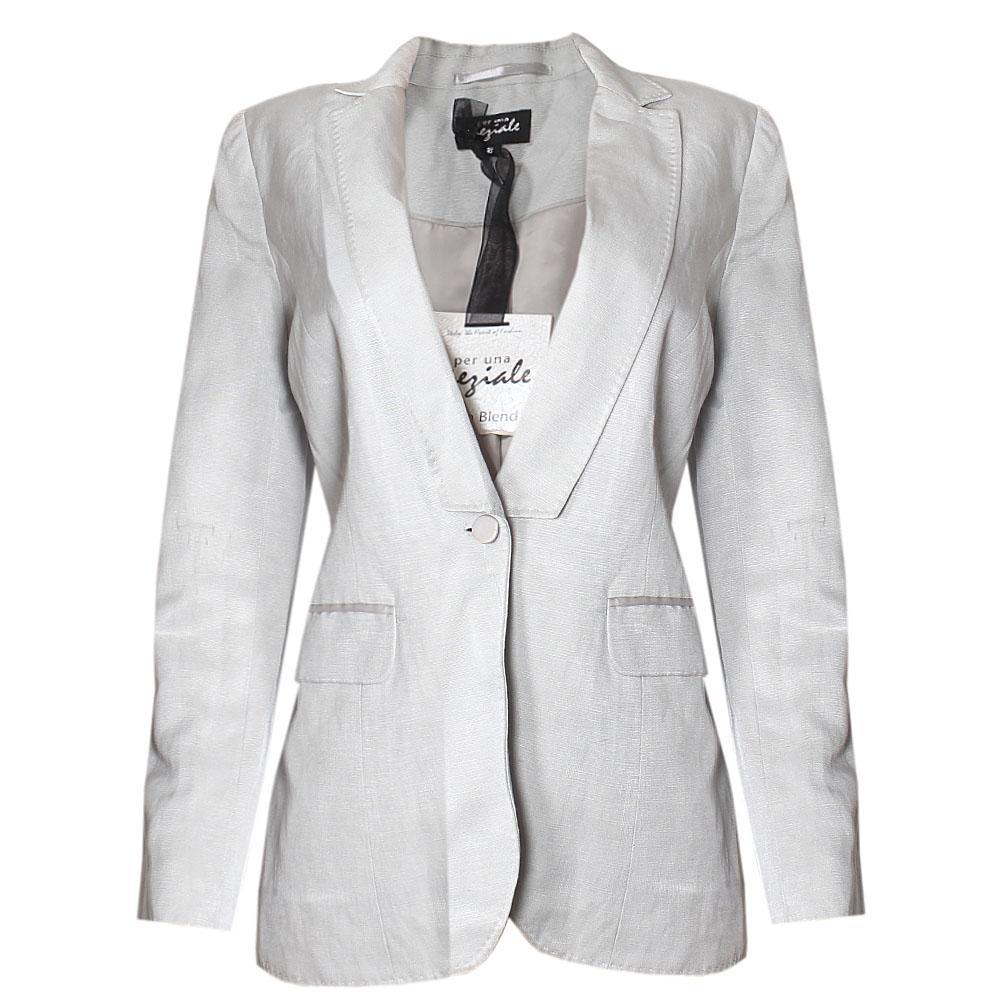 M & S Per Una Light Gray Linen Blend Longsleeve Ladies Jacket - 18