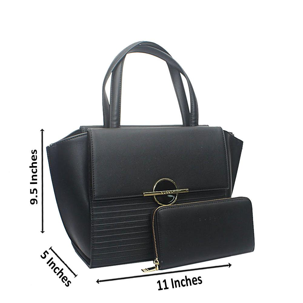 Susen Black Ocular Etched Leather Handbag