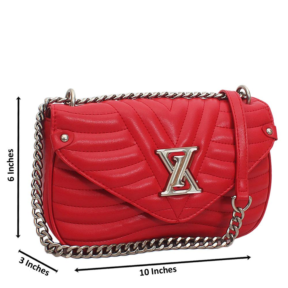 Red  New Wave MM Chain Tuscany Leather Crossbody Handbag
