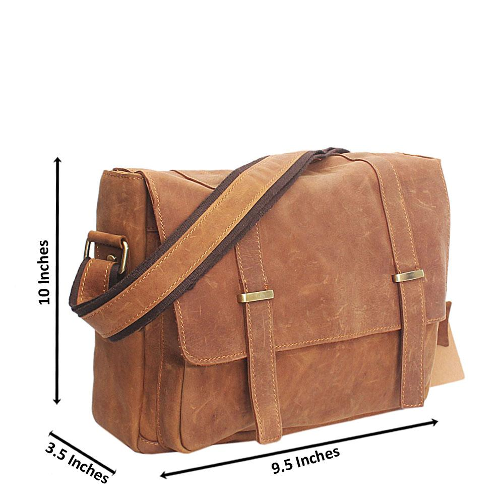 Brown Destressed Leather Small Messenger Bag