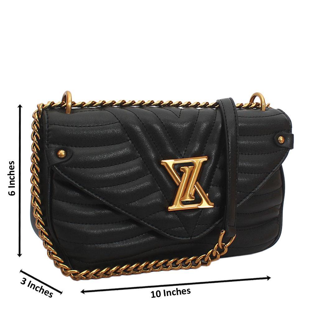 Black New Wave MM Chain Tuscany Leather Crossbody Handbag