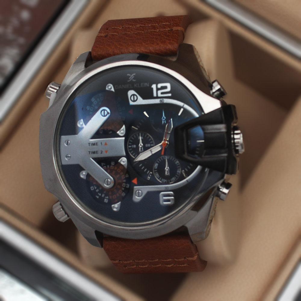 Daniel Klein Etched Brown Leather Watch