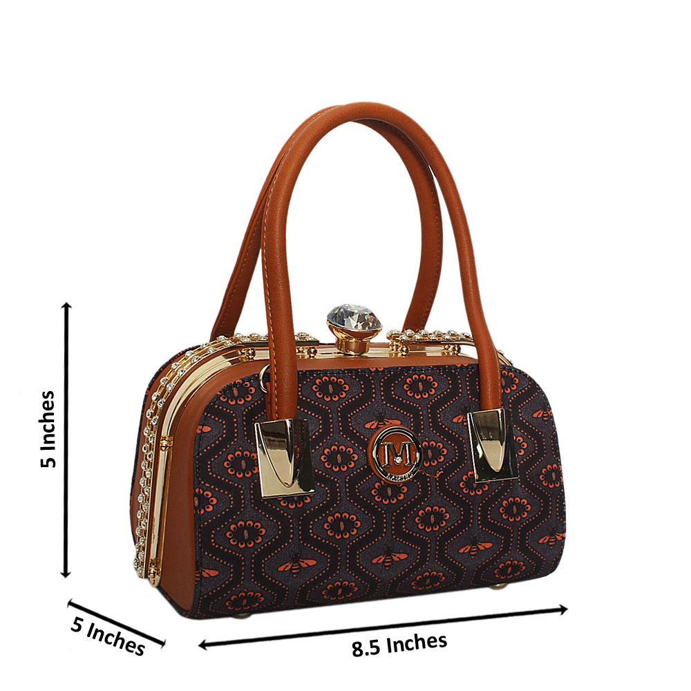 Brown Grahpic  Print Fabric Studded Leather Small Tote Handbag