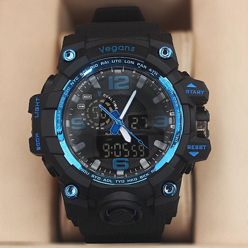 Vegans Black Royal Blue Water Resistant 50M Analog-Digital Watch