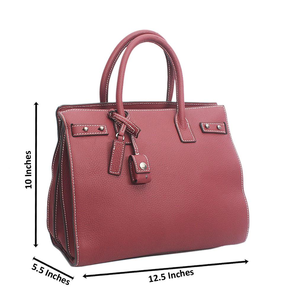 Classic Sac De Jour Wine Montana Leather Tote Handbag