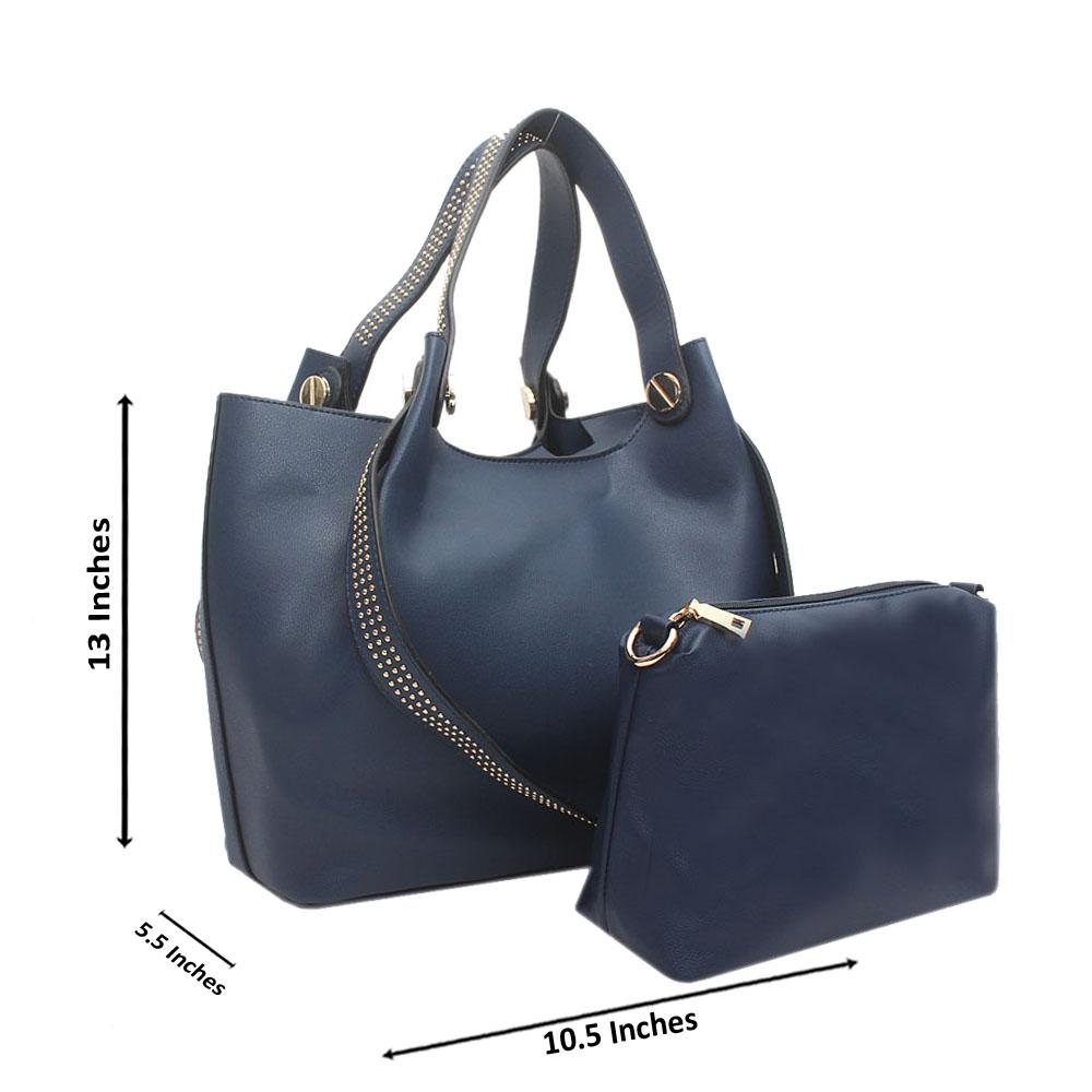 Navy Blue Studded Leather Shoulder Bag