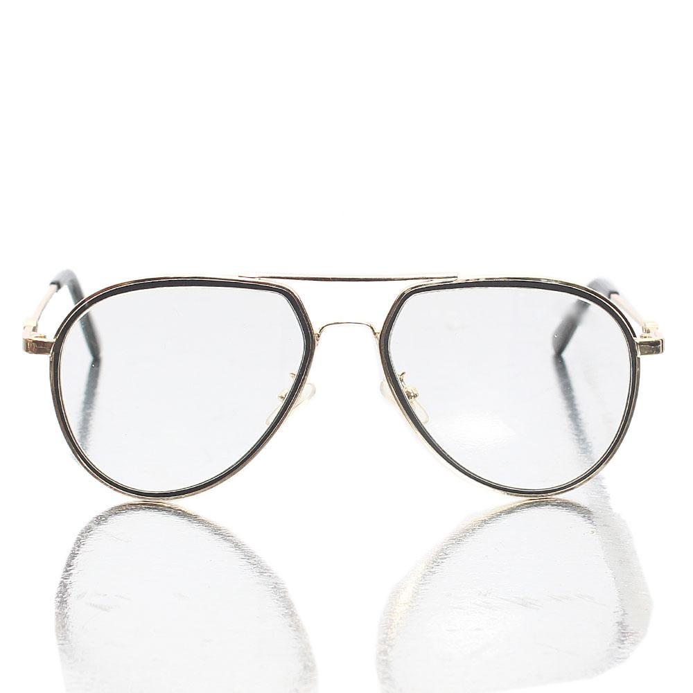 Gold Black Transparent Lens Aviator Glasses