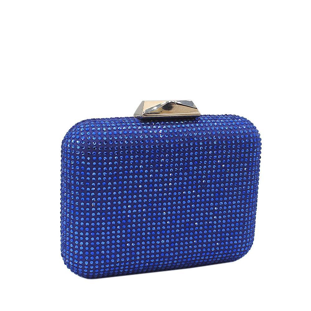 Blue Nina Crystals Studded Clutch Purse