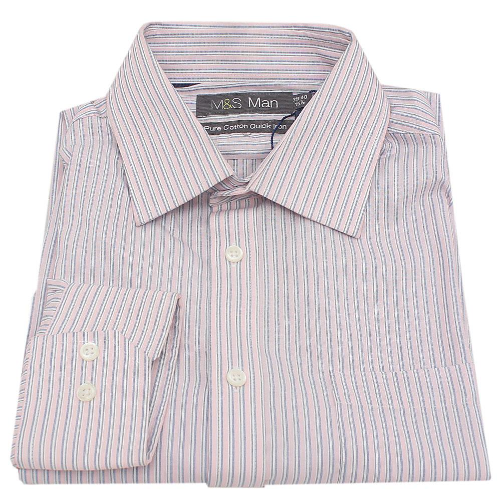 M&S Man Pink Stripe Pure Cotton Quick Iron L/Sleeve Men Shirt