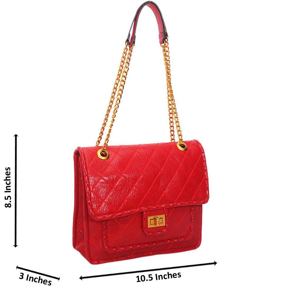 Red Angelina Threaded Leather Chain Handle shoulder Handbag