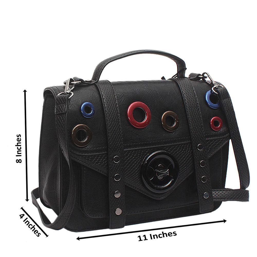 Black Leather Animal Skin Kerry Handbag