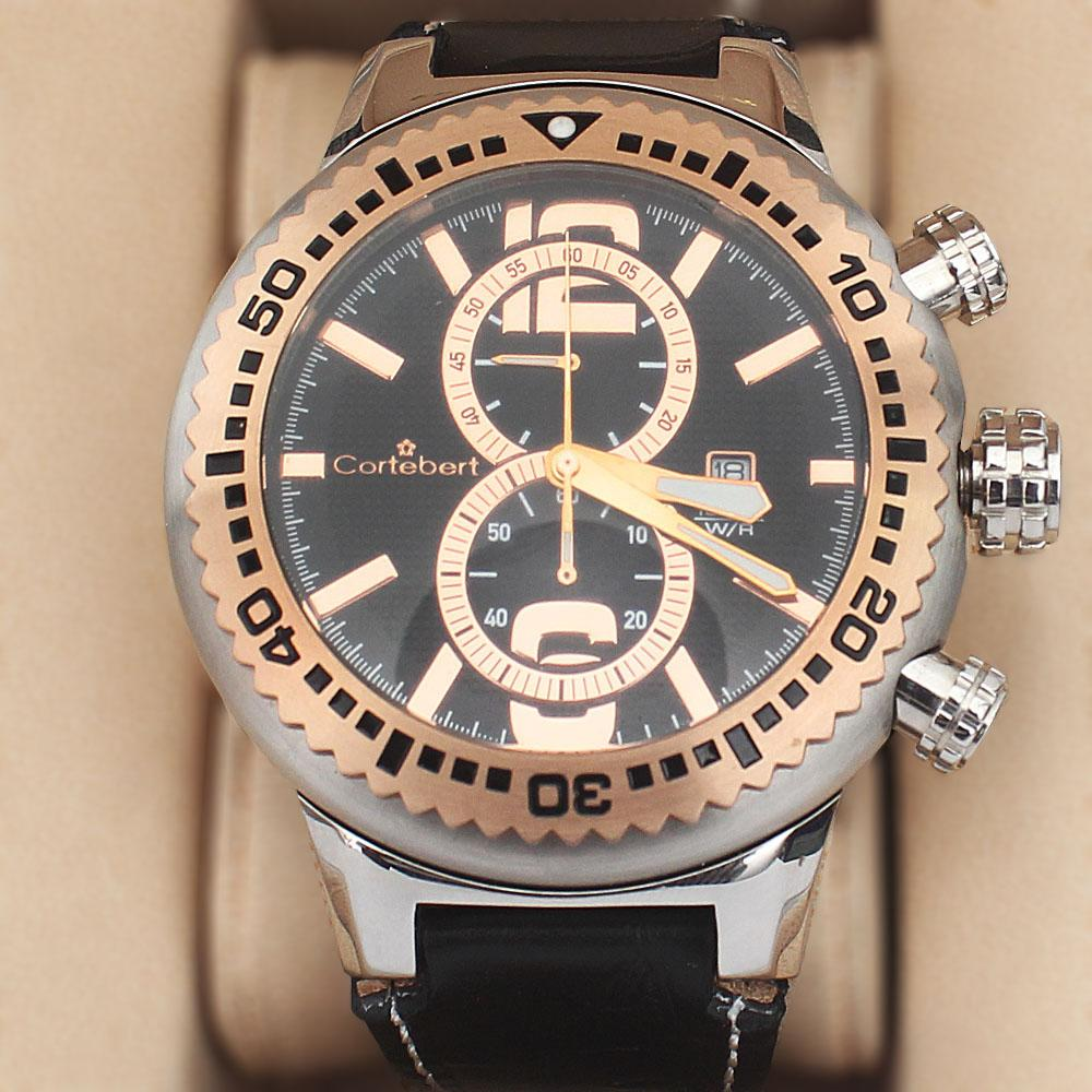Cortebert 2-Tone Stainless Steel Big Bang Wt Black Leather 10 ATM Water Res