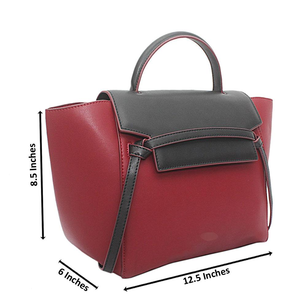 Wine Black Calfskin Leather Belt Handbag