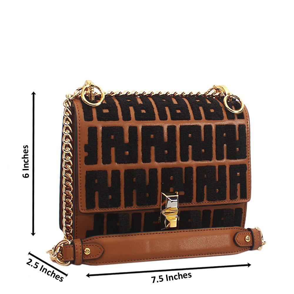 Brown Black Embossed Tuscany Leather Chain Crossbody Handbag