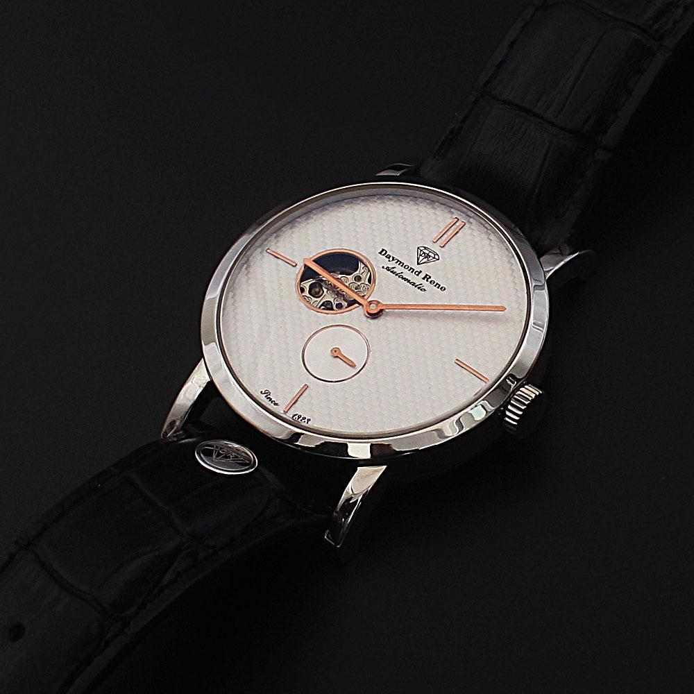 Daymond Rene Silver Black Leather Automatic Watch