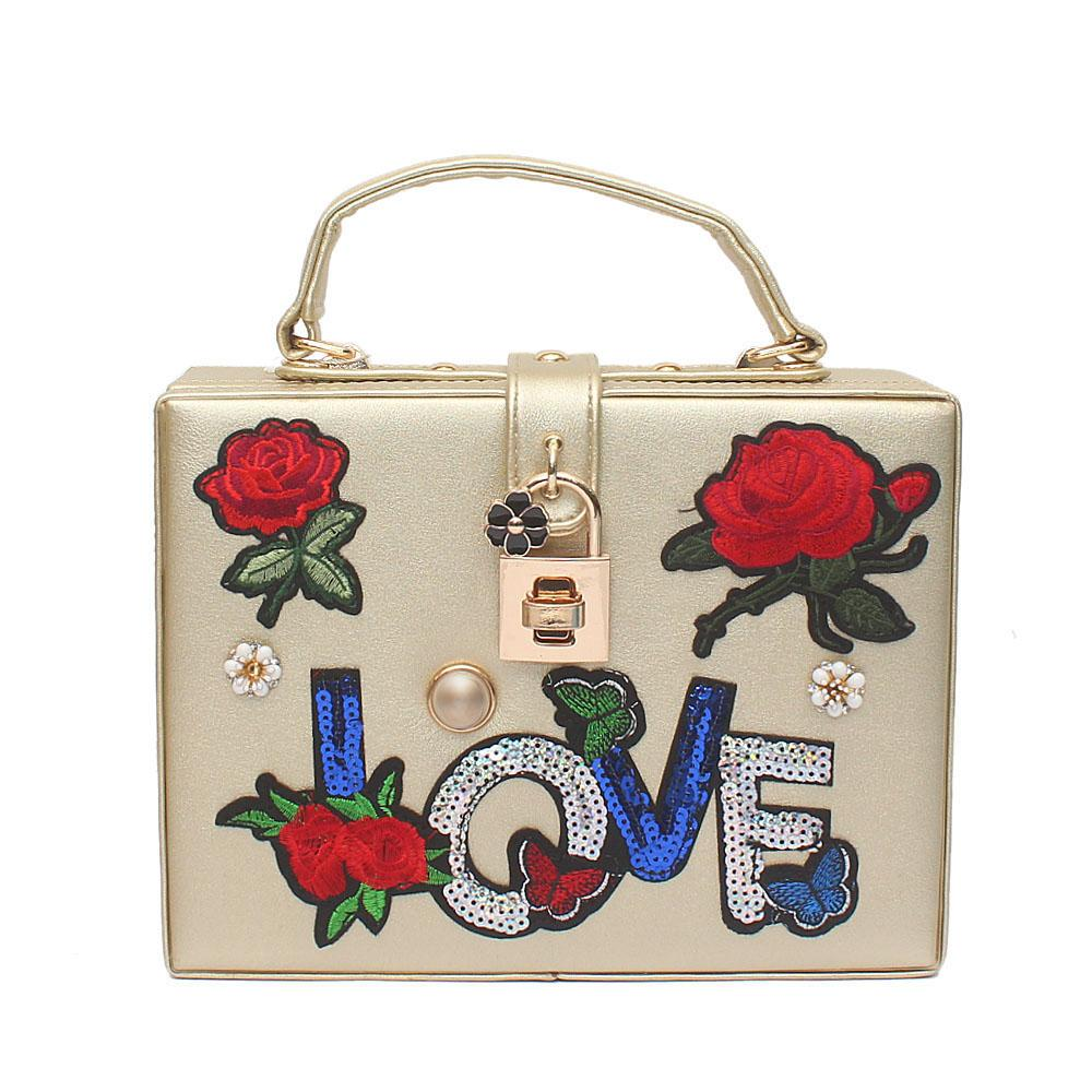 Love Flora Gold Leather Bag