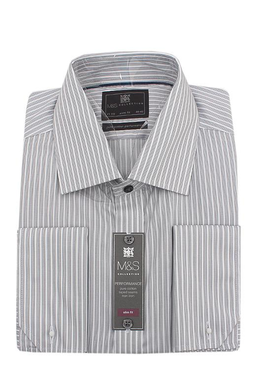 M&S Collection Gray White Striped Pure Cotton Slim Fit L/Sleeve Men Shirt W