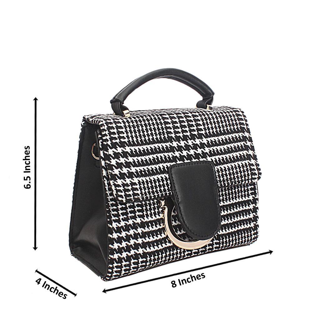 Monochrome Fabric Leather Mini Handle Bag