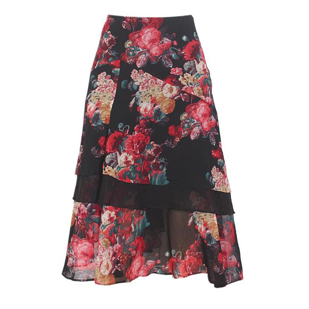 Peruna Black/Red/Green Mix Flared Chiffon Skirt