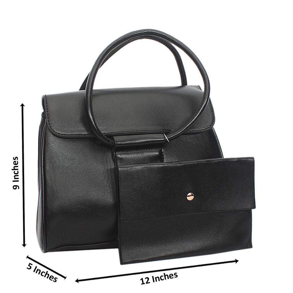 Black Leah Tuscany Leather Tote Handbag