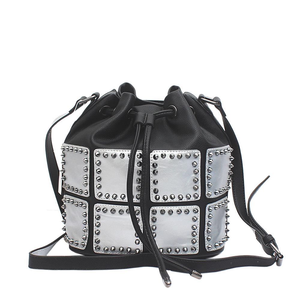 Safari Club Black Silver Studded Leather Bucket Bag