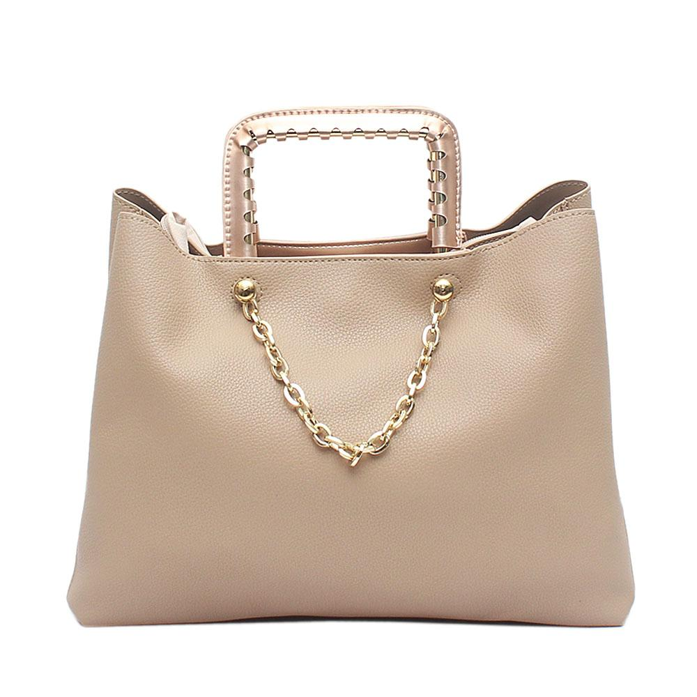 London  Style Khaki Leather Handbag