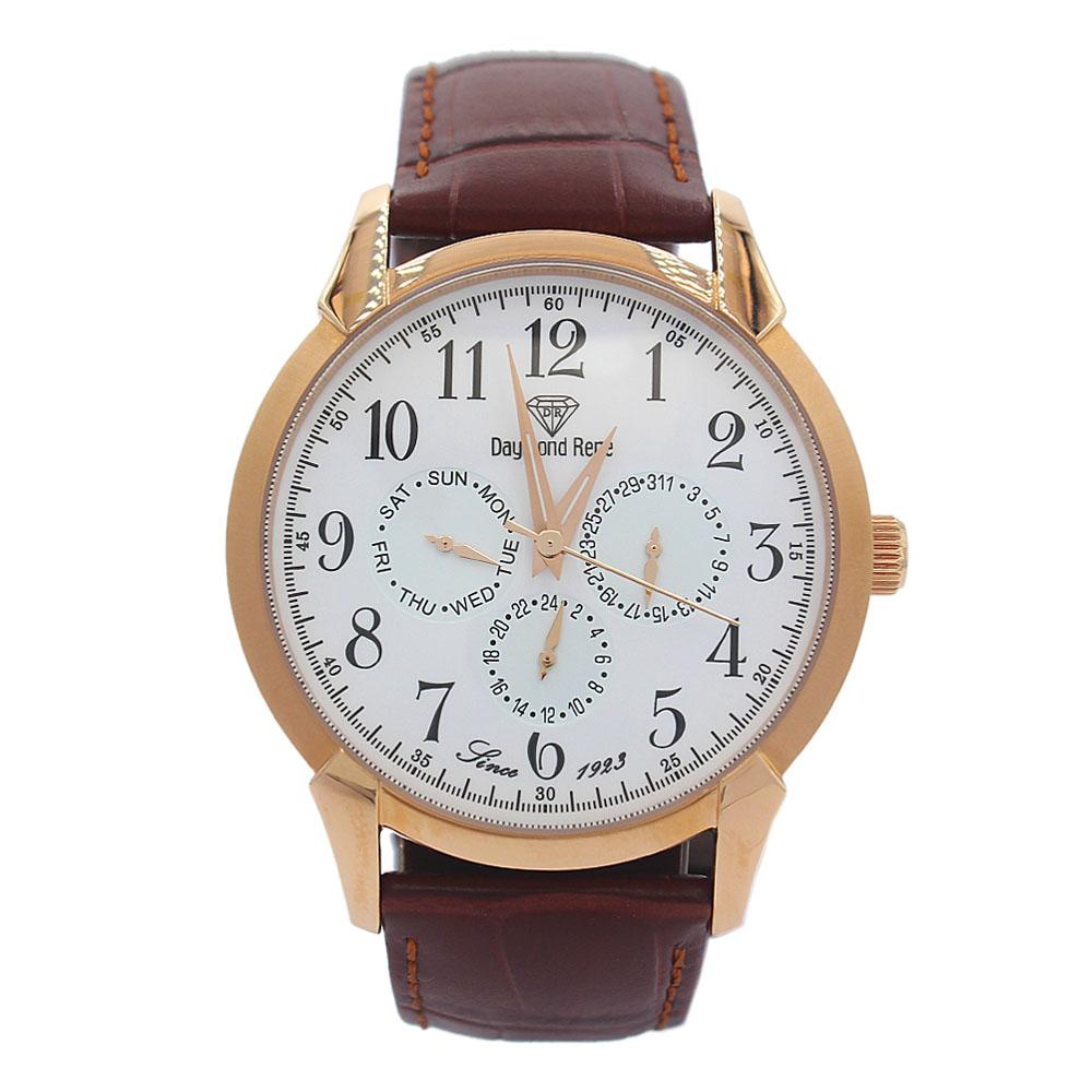 DR 3ATM Rose Gold Brown Leather Pilot Series Watch