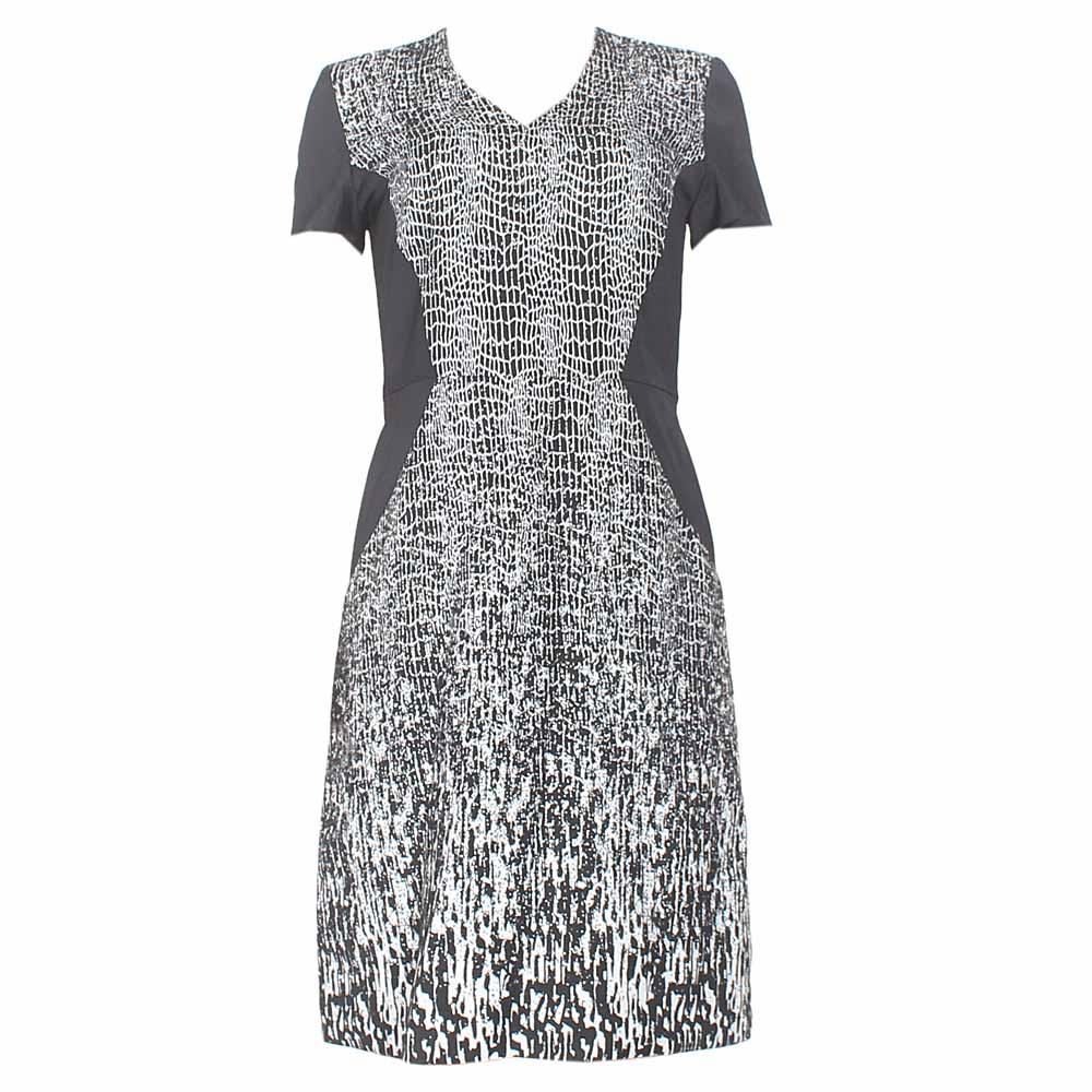 M & S Black -White  Design Ladies Dress-UK 20