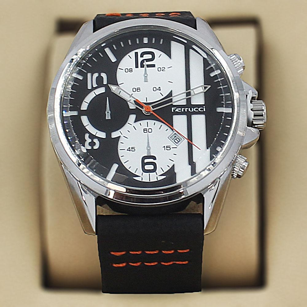 Ferrucci Bricius Black Leather Pilot Series Watch