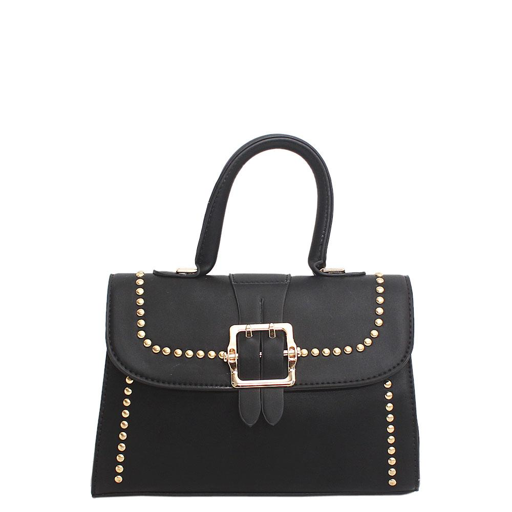 Alvin Barbie Black Leather Small Handle Bag