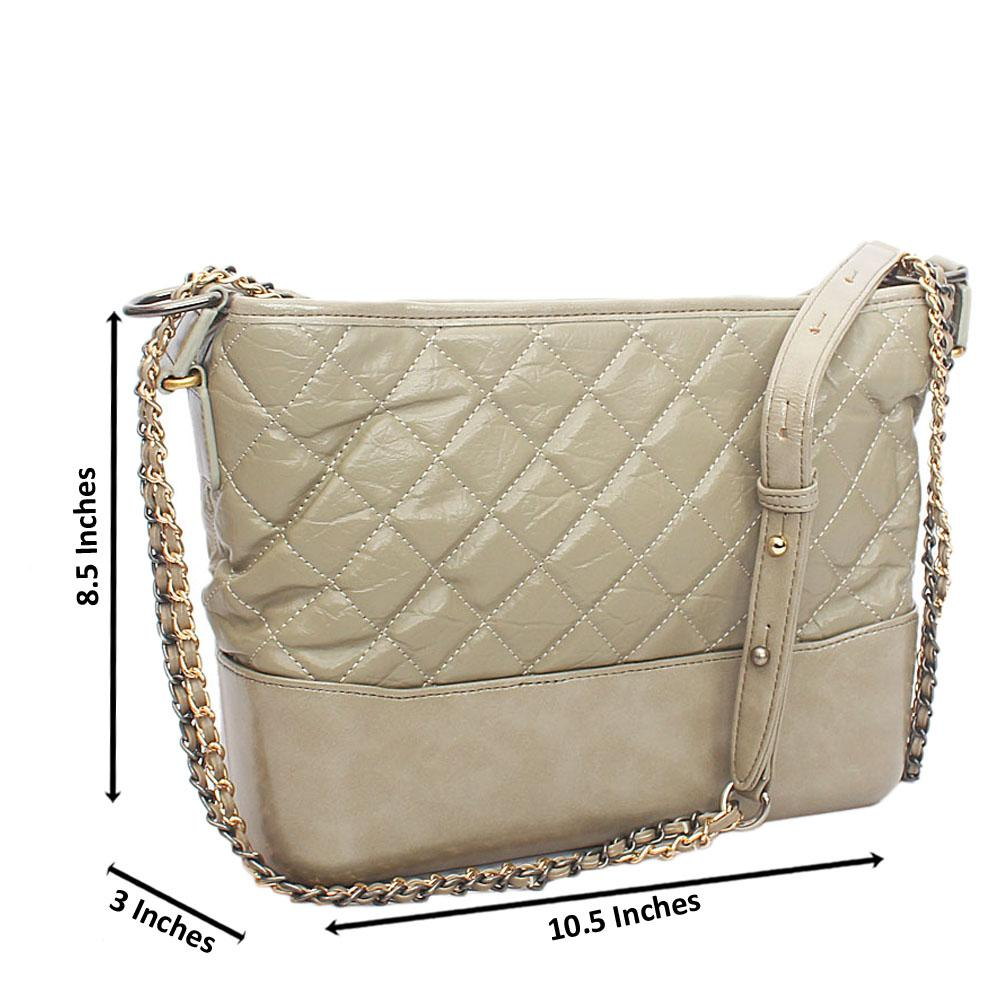 Modern Khaki Tuscany Leather Shoulder Handbag